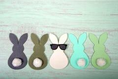 Odczuwani królików ogony w górę z rzędu, środkowy królik jest ubranym okulary przeciwsłonecznych obraz royalty free