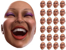 Odd. A set of female faces that are showing happy emotions, with an odd one that is bigger than all the rest Stock Photos