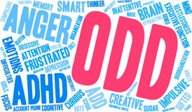 ODD ADHD Word Cloud. On a white background Royalty Free Stock Images