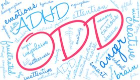 ODD Word Cloud. ODD ADHD word cloud on a white background Stock Image