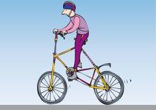 Odd bike. Man on a very tall customised bike stock illustration