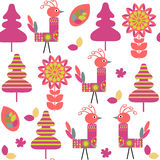 Odd birds seamless kids pattern and seamless pattern in swatch m Royalty Free Stock Images