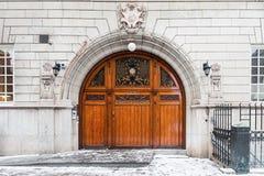 The Odd Fellows wooden entrance door in Stockholm Stock Photos