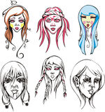Odd female heads. And portraits of young girls. Vector illustrations Royalty Free Stock Photo