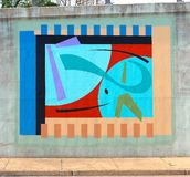 Odd Isometric Wall Mural On un sottopassaggio del ponte su James Rd a Memphis, Tn Fotografia Stock