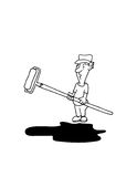 Odd Job Joe - Painter. Hand drawn by myself. 300 Dpi Jpeg, black and white cartoon Royalty Free Stock Image