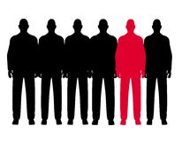 The Odd Man Out Row of Men. An illustration featuring a row of men standing like clones but one is red vector illustration