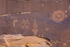 Odd Petroglyph Panel in Butler Wash Lizenzfreies Stockbild