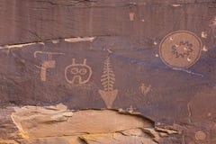 Odd Petroglyph Panel en Butler Wash Image libre de droits
