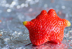 Odd Shaped Strawberry Royalty-vrije Stock Foto's