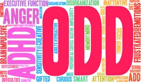ODD Word Cloud. ODD ADHD word cloud on a white background Royalty Free Stock Photos