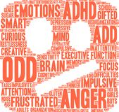 ODD Word Cloud. ODD ADHD word cloud on a white background Royalty Free Stock Images