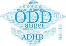 ODD Word Cloud. ODD ADHD word cloud on a white background Stock Photography