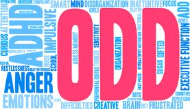 ODD Word Cloud. ODD ADHD word cloud on a white background Royalty Free Stock Photo