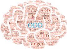 ODD Word Cloud. ODD ADHD word cloud on a white background Royalty Free Stock Image