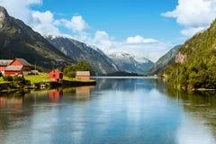 Odda is de stad van Noorwegen dichtbij Trolltunga-rots wordt gevestigd die royalty-vrije stock fotografie