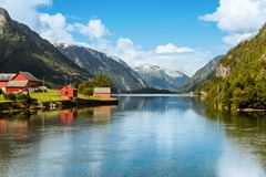Odda is Norway town located near Trolltunga rock royalty free stock photography
