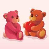 oddalony niedźwiadkowy daje serce jego miś pluszowy Zdjęcia Royalty Free