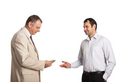 Oddawał pieniądze inna ręka Fotografia Stock