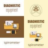 Oddechomierza sprzęt medyczny Przyrząd ustala pojemność płuca Wektorowa płaska ikona Obraz Royalty Free