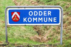 Odder municipality road sign. In Denmark Royalty Free Stock Images