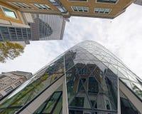 Oddolny widok Londyńscy miasto drapacze chmur, Londyn zdjęcia stock