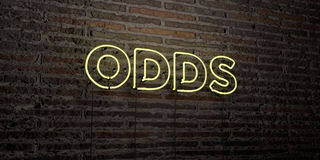 ODDS -Realistic Neon Sign on Brick Wall background - 3D rendered royalty free stock image. Can be used for online banner ads and direct mailers Royalty Free Stock Photo