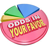 Odds in Your Favor Pie Chart Advantage Competition. Odds in Your Favor words on a pie chart illustrating the advantage you hold in a competition versus others royalty free illustration