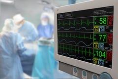 Oddziału intensywnej opieki ICU LCD monitor z trwającą operacją Obraz Stock