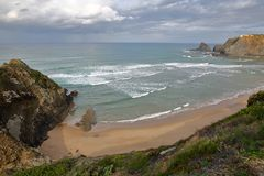 Odeceixe beach Aljezur with colorful landscapes, Costa Vicentina, Algarve stock photography