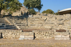 Odeion and Bouleuterion in ancient city Troy. Turkey Stock Photo