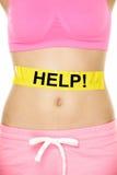 Żołądek pomoc - kobieta z ciało ciężaru problemami Obrazy Stock
