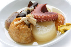Oden, japanese food. Japanese hotchpotch on a white background stock photo