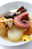 Oden, japanese food. Japanese hotchpotch on a white background royalty free stock image