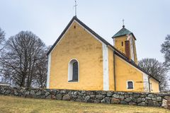 Odensala, Schweden - 1. April 2017: Odensala-Kirche, Schweden Lizenzfreie Stockfotos