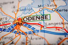 Odense City on a Road Map Stock Images