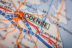 Odense City on a Road Map Royalty Free Stock Photography