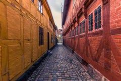 Odense, Denemarken - April 29, 2017: Oude stad van Odense royalty-vrije stock afbeelding