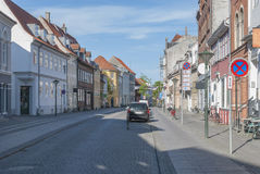 Odense Denmark stone paved street Stock Photo