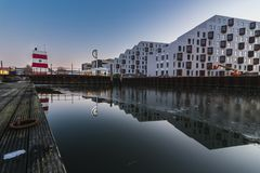 Odense utomhus- hamnsimbassäng, Danmark Royaltyfria Foton