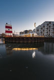 Odense utomhus- hamnsimbassäng, Danmark Arkivbilder