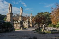 Odeon of Agrippa statues in the Ancient Agora of Athens. Greece Stock Images