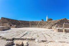Odeon Amphitheatre and the lighthouse. Paphos, Cyprus Stock Image