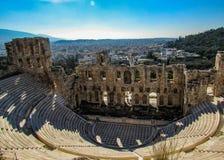 Odeon antigo do Atticus de Herodes na acrópole, vista de cima de, Atenas, Grécia, Europa foto de stock royalty free