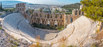 Odeon av den Herodes atticusen i Aten, Grekland Arkivfoto