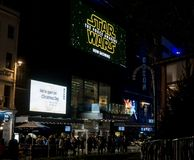 Odeon Cinema, Leicester Square at night with signs advertising Star Wars The Force Awakens movie royalty free stock photography