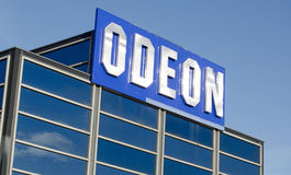 Odeon Cinema Sign. BASINGSTOKE, ENGLAND - JANUARY 19, 2014: Sign at the top of the Odeon cinema multiplex at West Ham Leisure Park, Basingstoke.  The cinema is a Stock Images