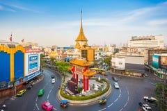 Odeon Circle. Bangkok, Thailand - January 30, 2017 : The Odeon Circle or Gateway Arch and the Golden Buddha Temple at Bangkok Chinatown, Thailand. It was built Royalty Free Stock Image