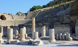 The Odeon at Ephesus. Ancient ruin of The Odeon at Ephesus (Efes) against a beautiful blue sky Stock Photography