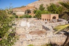Odeon fördärvar, Gortyn den arkeologiska platsen, ön av Kreta, Grekland, Royaltyfri Fotografi